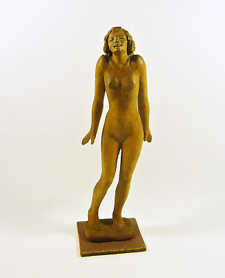 "Shy Nude Woman Glamour 11"", Vintage Artist Signed Woodenware Carved Figurine !"