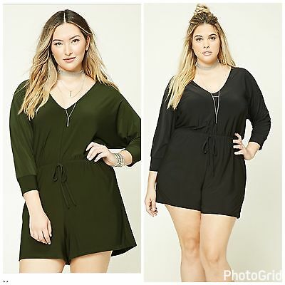 e5f2fcde61a0 FOREVER 21 PLUS SIze Olive V-Neck Romper XL -  17.99