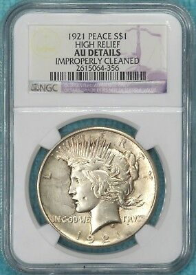 1921 AU-Details High Relief Peace Dollar Silver Almost Uncirculated $1 Lot #7