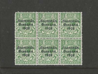 IRELAND 1922 1/2d BLOCK OF 6 WITH FLAW ERROR  MISPLACED TWO'S M/MINT SG;52