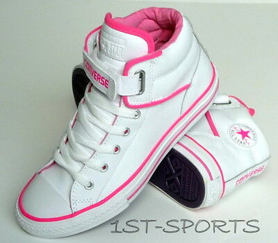 Converse Junior, Girls White Leather Trainers Ct Pc Loopback Trainers Shoes Uk 5