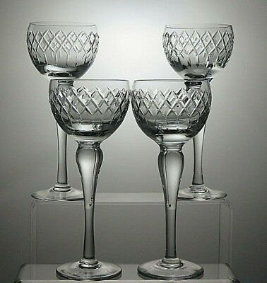 """Royal Brierley Crystal """"coventry"""" Cut Hock Wine Glasses Set Of 4 - 7 2/3"""" Tall"""