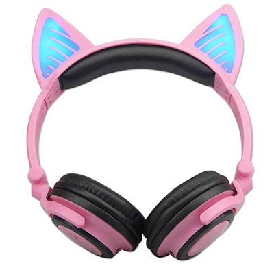 PINK Foldable WIRELESS Bluetooth CAT Ear HEADPHONES Glowing Light USB Chargeable