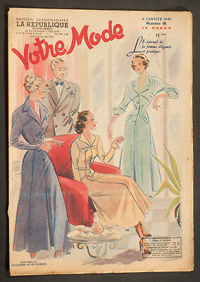 'votre Mode' French Vintage Newspaper 6 January 1949
