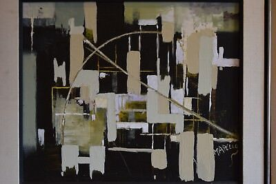 Mid Century Modern Abstract Geometrical Oil Painting on Canvas *SGN. MARCELO*