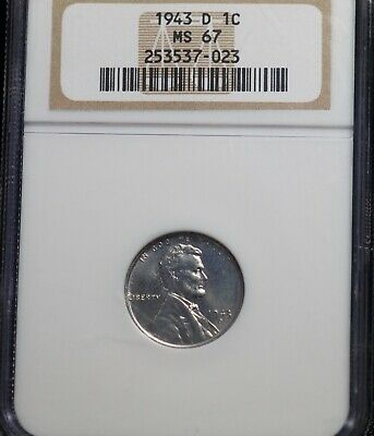 1943 D NGC MS 67 Lincoln Steel Wheat One Cent 1C Coin