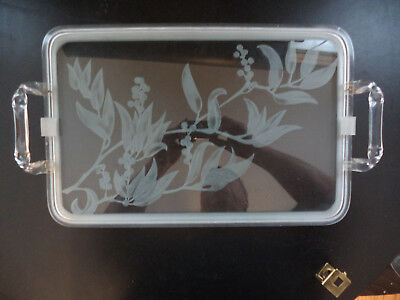 Vintage-Mid-Century-Frosted-Etched-Glass-Acrylic-Lucite Serving Bar Display Tray