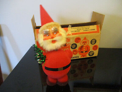 Vintage Santa Claus Christmas Paper Mache Nodder Bobblehead Candy Container Box!