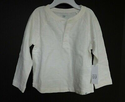 NWT Gap Baby Toddler Boy Long Sleeve White Henley T-Shirt Top 2 Yrs New