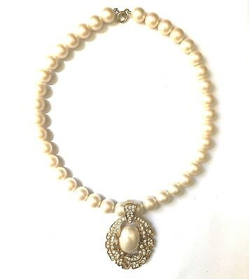 Trifari Gold Pearl Pave Crystal Pendant Necklace