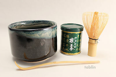 Japanese tea ceremony Uji Matcha Green Tea Complete Set Tenmoku nagashi bowl