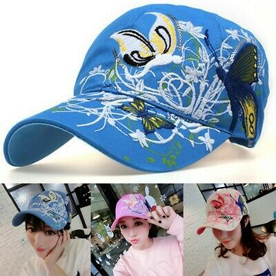 Women Summer Baseball Cap Flowers Butterfly Embroidered Golf Hat Adjustable  US d3a1c3bee0a2