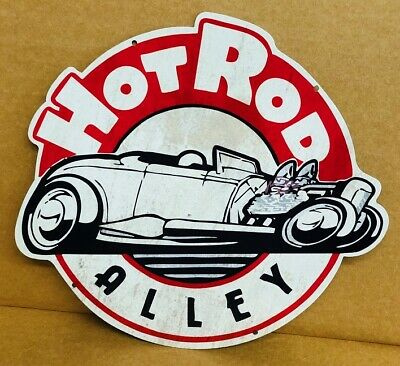 NEW Hot Rod Alley Diecut tin metal sign