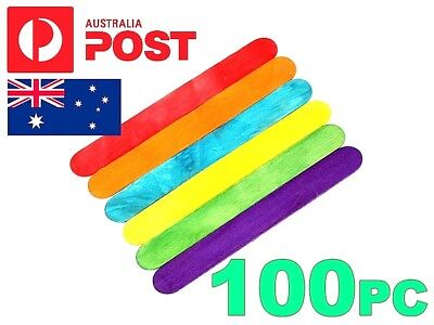 ***100 RAINBOW WOODEN CRAFT STICKS*** PADDLE POP POPSICLE Coffee Stirrers COLOR