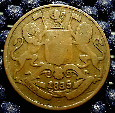 1835 East India Company One Quarter (1/4) Anna coin, Fine, (+FREE 1 coin)#D868