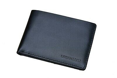 Men's Slim Genuine Leather Bifold Wallet - URBAN MAN 'Hansford' - BLACK