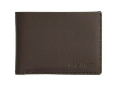 Men's Slim Genuine Leather Bifold Wallet - URBAN MAN 'Hansford' - BROWN
