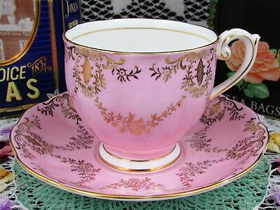 Queen Anne Gold Gilt Floral Swags Candy Pink Tea Cup And Saucer Teacup