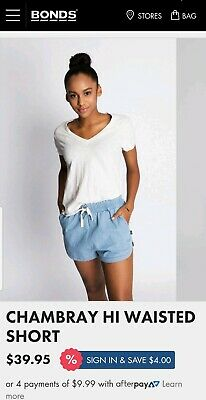 BNWT Bonds Hi Waisted Chambray Shorts- Size Large *Current stock!