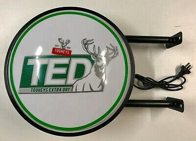 TOOHEYS EXTRA DRY TED BEER Bar Lighting Wall Sign Light LED Man Cave Father Gift