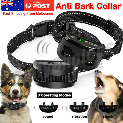 Auto Anti Bark Rechargeable Vibration Collar Stop Barking Dog Pet Trainer To