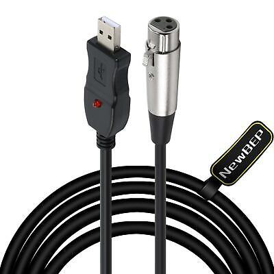 USB Microphone Cable, NewBEP 3 Pin USB Male to XLR Female Mic Link Converter Cab