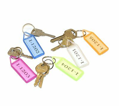 10X Plastic with ID Label Key Tag Tags Keychains Key Chain Fob Ring Name Card