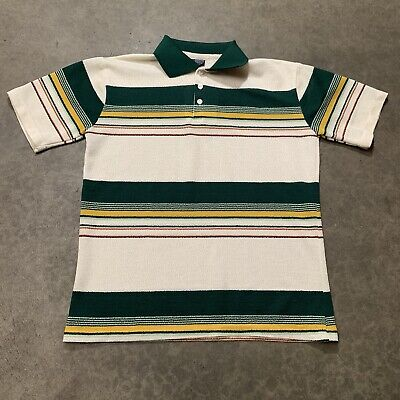 Vintage 80's 70's JCPenny Stripped Knit Polo Shirt Size Medium