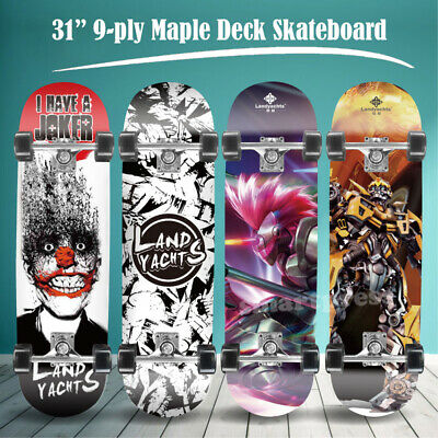 """31"""" Kids Adult Skateboard Complete 9 Ply Maple Board Beginner to Pro Outdoor"""