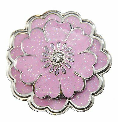 Pink Flower Glitzy Ball Marker with Swarovski Crystal and Matching Kicks Candy S