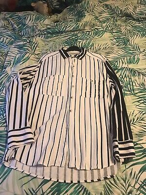 Unisex American Apparel Black And White Striped Shirt Size S
