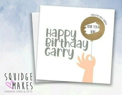 Scratch off Reveal Birthday balloon Surprise card personalised guess what funny