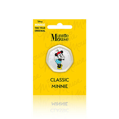 Minnie Mouse Disney Gifts 50p Shaped Collectable Silver Coin - Classic Minnie