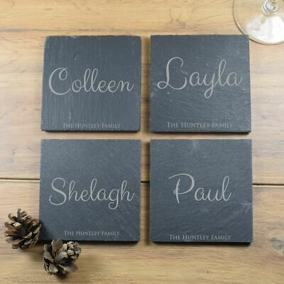 Personalised Coasters Slate, Custom Name Engraved, Wedding Gift Mothers Day Gift