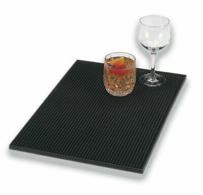 "Large Black Rubber Drinks Beer Drip Mat Runner Bar Pub Catering 18 "" x 12"" UK"