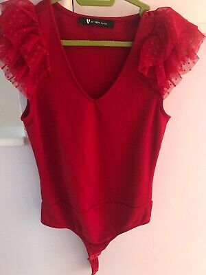 V By Very Petite Red Bodysuit Top Lace Frill Spot Trim Sleeve 8