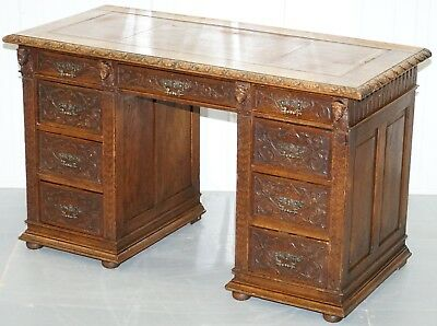 Early Gothic Style Circa 1800 Hand Carved English Oak Twin Pedestal Desk Leather