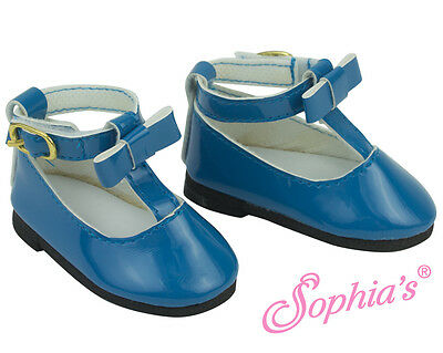 """Cornflower Blue T-Strap Mary Jane w/Bow fits 18"""" American Girl Doll Shoes"""
