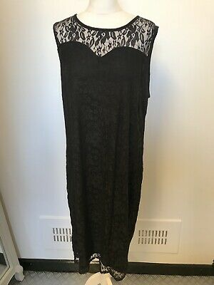 So Fabulous Black Lace Dress Size 22 Designer Midi Fitted 20