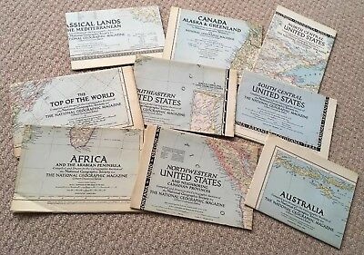 9 Vintage National Geographic Maps. Dated Between 1947-1950
