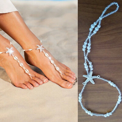 3f6ca31f8 2 Pcs Crystal Sandals Pearl Beads Starfish Wedding Anklets Foot Chain