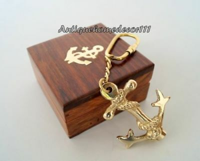 Nautical Brass Maritime Anchor Key Chain Key Ring With Wooden Box Beautiful Gift