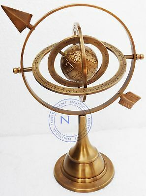 """Nautical Maritime 10.5"""" Antique Brass Armillary Sphere With Arrow Engraved Globe"""