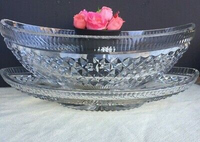 Antique Anglo Irish Cut Crystal Bowl Centerpiece