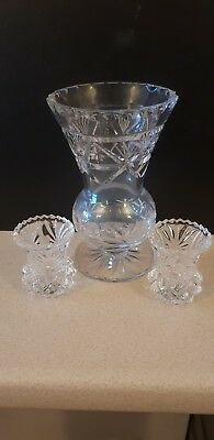 Pretty Crystal Glass Bulbous Vase And 2 Posy Vases
