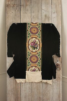 Fabric Antique French Needlepoint Arts & Crafts black velvet chair cover textile