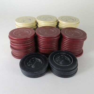 Lot of 78 Vintage Antique Lucky Horse Head Clay Poker Chips White Red Blue
