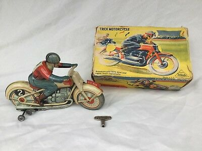 Technofix GE 255 Motorrad Trick Motorcycle Blechspielzeug Tin Toy Vintage Boxed