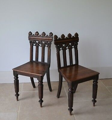 A Pair of 19th Century Gothic Oak Hall Side Table Bedroom Kitchen Chairs Two 2