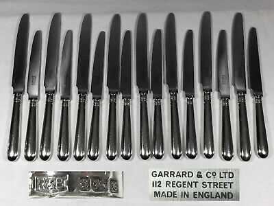 16 Silver Table / Dinner & Dessert / Luncheon Knives Garrard Old English 1997